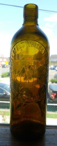 Unusual Yellow Tone Duffy Malt Whiskey Rochester NY Fifth Whiskey Liquor Bottle