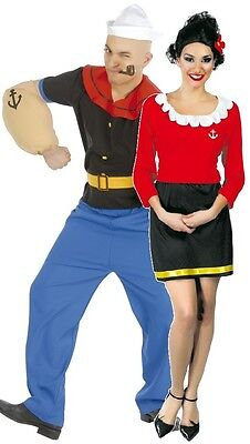 Couples Mens AND Ladies Strong Sailor and Wife TV Fancy Dress Costumes Outfit (Sailor Couple Costume)