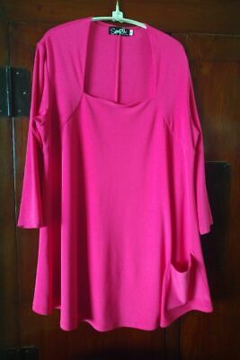 Sympli Sz 16 Square Neck Tunic with one Pocket Hot Pink One Pocket Tunic