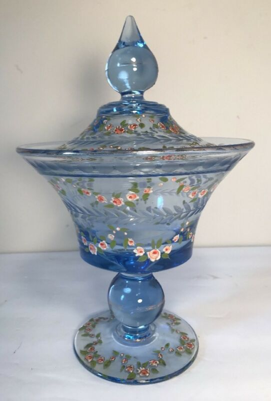 Large Blue Glass Etched & Hand Enameled Vintage Compote With Lid