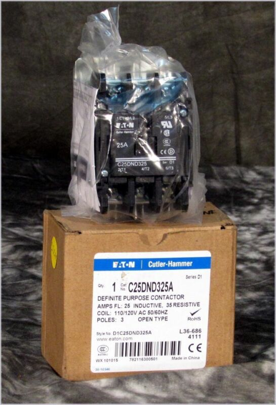 NEW EATON CUTTLER HAMMER D1C25DND325A DEFINITE PURPOSE 110/120V 3-POLE CONTACTOR