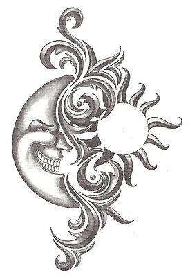 Moon Tribal Tattoos - Tribal sun and moon Temporary Tattoo NEW!