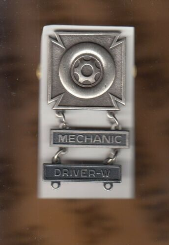 US Army DRIVER w/ MECHANIC & WHEELED Vehicle tab badge award brushed c/b