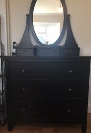 Reduced!!! Black IKEA dressing table/chest of drawers with a mirror
