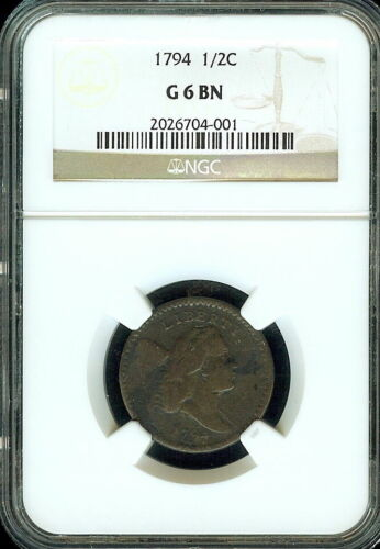 1794 Half Cent G-6 Brown NGC graded coin