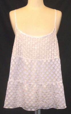 Abercrombie & Fitch Womens L Large White Sheer Sequin Tank Sleeveless Top New
