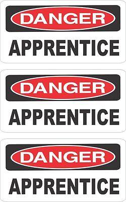 3 DANGER APPRENTICE HELMET/HARD HAT/TOOLBOX/LUNCH BOX STICKER HS-139