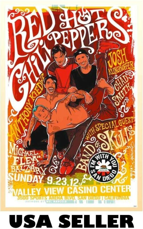 Red Hot Chili Peppers repro concert POSTER 34 x23.5 brilliant yellow-orange RHCP