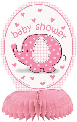6 Mini Pink Elephant Girl Baby Shower Centerpiece Decorations, 4ct
