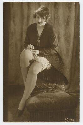 1920s Risque part Nude French RPPC Photo Postcard ALLURING FLAPPER Leggy Lady