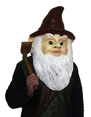 Gnome Mask Latex Fancy Dress Costume Halloween Wizard Dwarf Midget Dwarf Garden