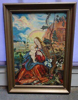 Ölbild Heiligenbild Muttergottes mit Christuskind sign. Arlt München