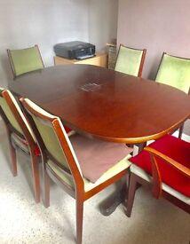 Mid century Mahogany dining table & 6 chairs