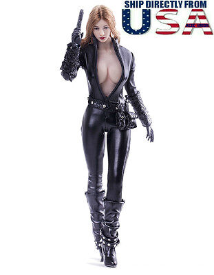 1 6 Black Widow Leather Agent Suit Set For Phicen Hot Toys Female Figure U S A
