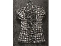 Checked ruffle top with embellished buttons
