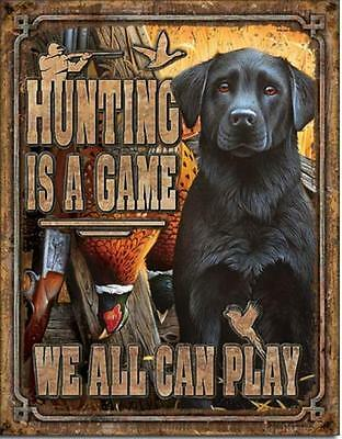 Duck Hunting Game Black Labrador Gun Dog Metal Sign Man Cave Cabin Picture Gift
