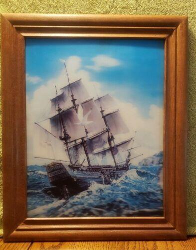 Vintage 3D Hologram Framed Picture Old Pirate Ship & Birds At Sea Holographic