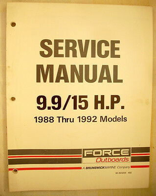 1988 thru 1992 Force 9.9 & 15hp Outboards Factory Service Manual - NICE!
