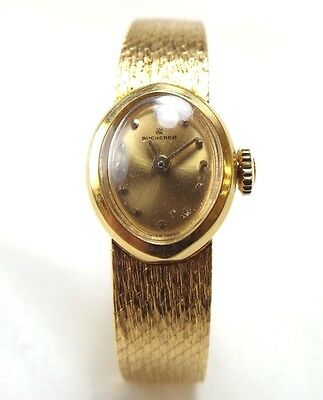 Vintage Ladies Bucherer Watch  Solid 18k Yellow Gold  17 Jewel Movement