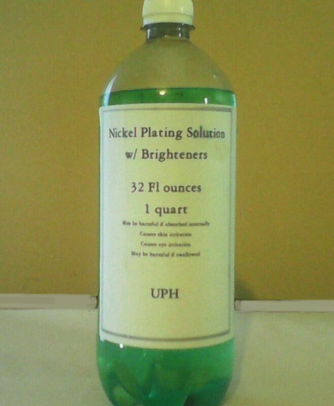 Nickel Plating Solution with Brighteners - One Quart. Free anode! Improved!