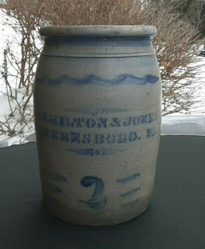 "Antique Salt Glazed Stoneware ""HAMILTON & JONES GREENSBORO GREENE CO. PA."" Crock"