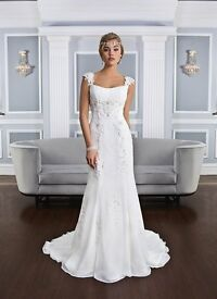 Lillian West 6326 Beaded Lace and Chiffon Gown with Lace Cap Sleeves Wedding Dress Size 8