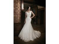 Justin Alexander Wedding Dress - No. 8689 Lace Mermaid Dress with Scalloped Train