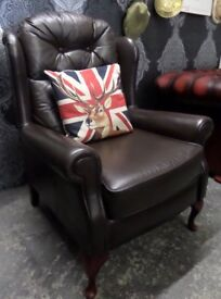 Beautiful Chesterfield Queen Anne Wing Back Chair Brown Leather Delivery