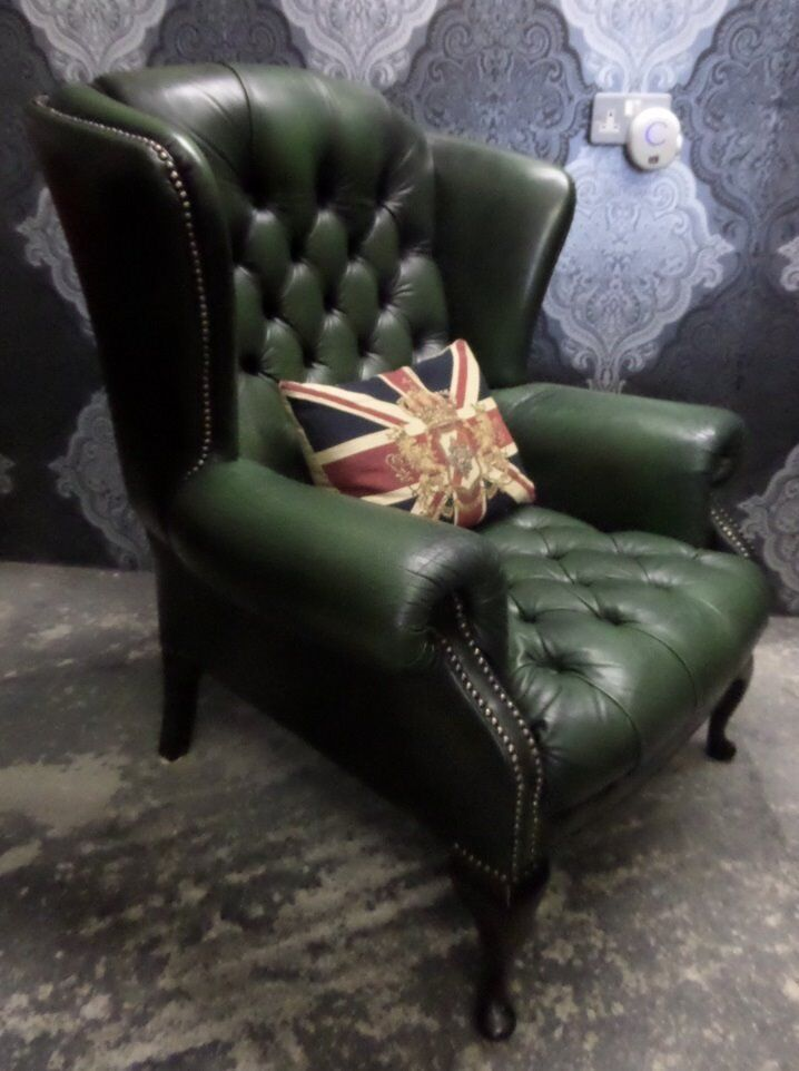 Beautiful Vintage Chesterfield Queen Anne Wing Back Chair Green Leather Uk Delivery
