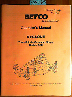 Befco Cyclone 3 Spindle Grooming Mower Series C30 Owners Operators Manual 700