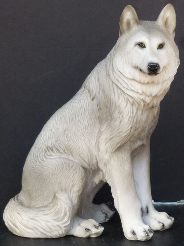 LYKIAOS  Small Sitting Wolf  Statue Figurine  H7.25""