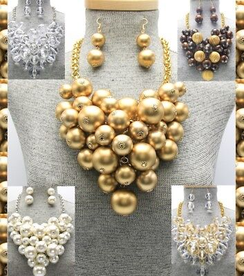 Pearl Cluster Drop Necklace - Statement Chunky Ball Wood Beaded Lucite Pearl Bead Cluster Necklace Clear Bib