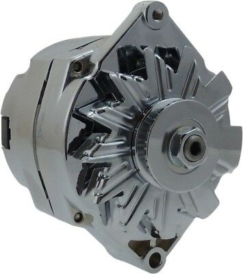 120A Chrome Street Rod Alternator GM 305 350 BBC SBC 1 One Wire Self Exciting