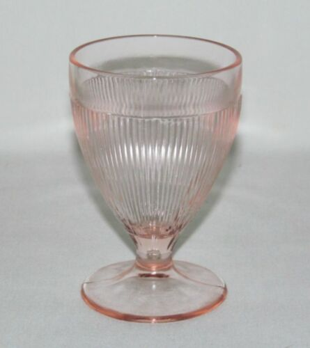 Jeannette Glass Co. HOMESPUN Pink Footed Banded Top Juice Tumbler
