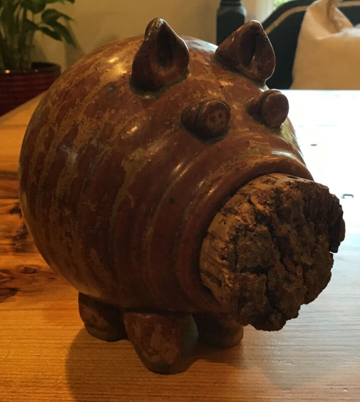Beautiful Vintage Pottery Pig Bank with Cork