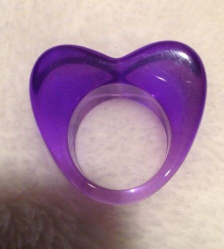 Lucite Heart Translucent Purple Ring Size 5.5