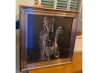 Champagne & flute 3D picture in solid chrome frame from Taskers