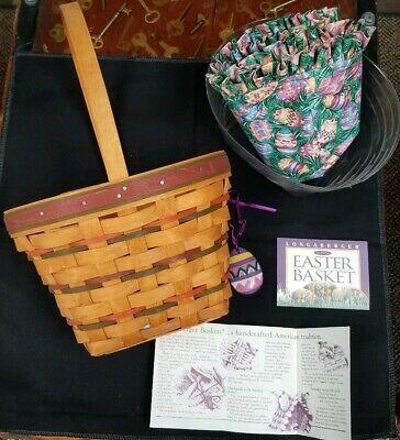 Easter Basket With Liner (Longaberger 1996 Easter Basket Set with Liner, Protector, Tie On & Product)