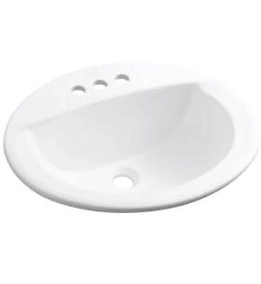 """Sterling 19"""" Self Rimming Round Lavatory Sink #442044-0 WHITE - 3 Hole Faucet"""