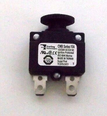 Carling Brand Push to Reset Panel Mount 15 amp Marine Grade Circuit Breaker