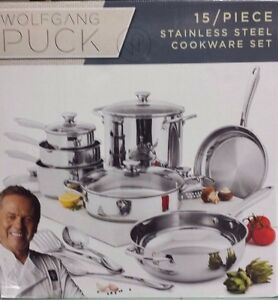 Wolfgang Puck - 15 Piece Stainless Steel Cookware Set - Brand New!