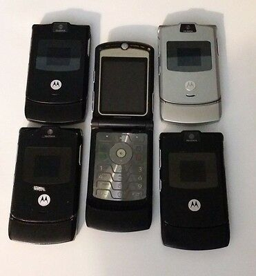 Lot of 5 Motorola V3 Cingular All Cell Phones Power Up