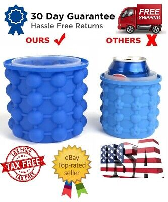 Ice Cube Maker Genie Bottle Silicone Bucket Space Saving Ice Cube Tray US Seller](Blue Ice Cubes)