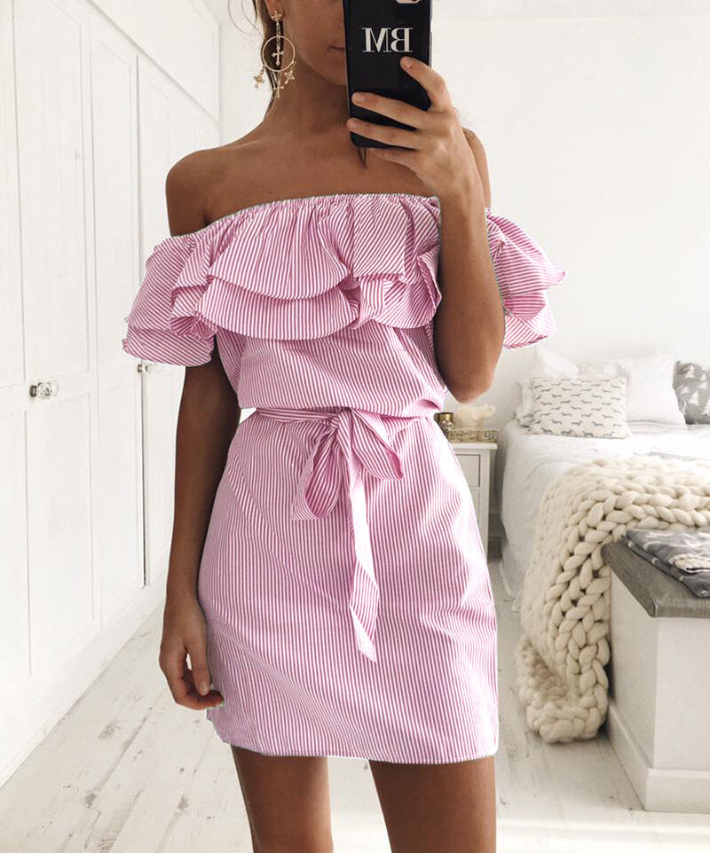 Ladies Strapless Casual Beach Party Shirt Dresses Women\'s Summer ...