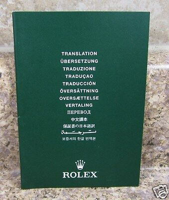 Vintage 2000 's Rolex Collectible Green Translation Booklet Manual 565.01