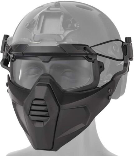 Airsoft Tactical Paintball Protective Combat Helmet Face Mask W/Visor Goggles