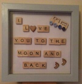 SCRABBLE PHOTO FRAME BABY BOY/CHILDS GIFT - I LOVE YOU TO THE MOON AND BACK