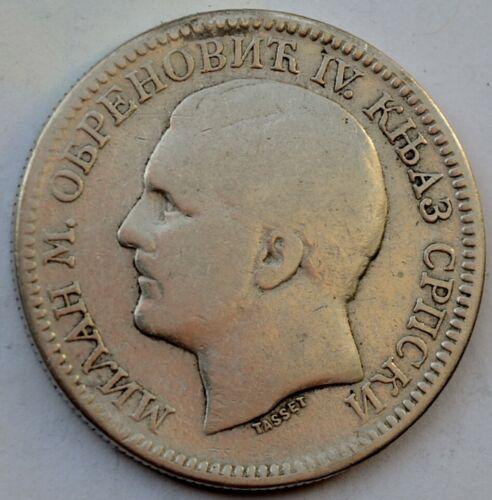 Serbia, 2 Dinara 1879, Milan Obrenović IV, silver coin