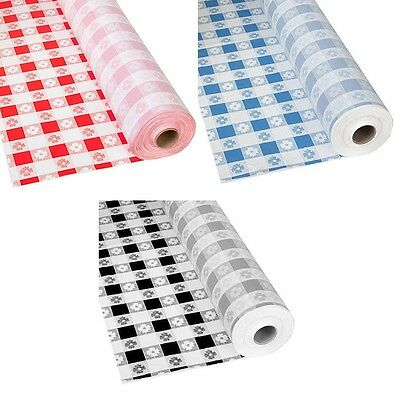 Gingham Patterns Plastic Banquet Table Cover Roll - 300 Feet Long Picnic Check - Plastic Table Rolls