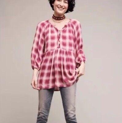 Anthropologie Maeve Womens Size Medium Calavon Plaid Checker Tunic Shirt Pink Pink Plaid Checker